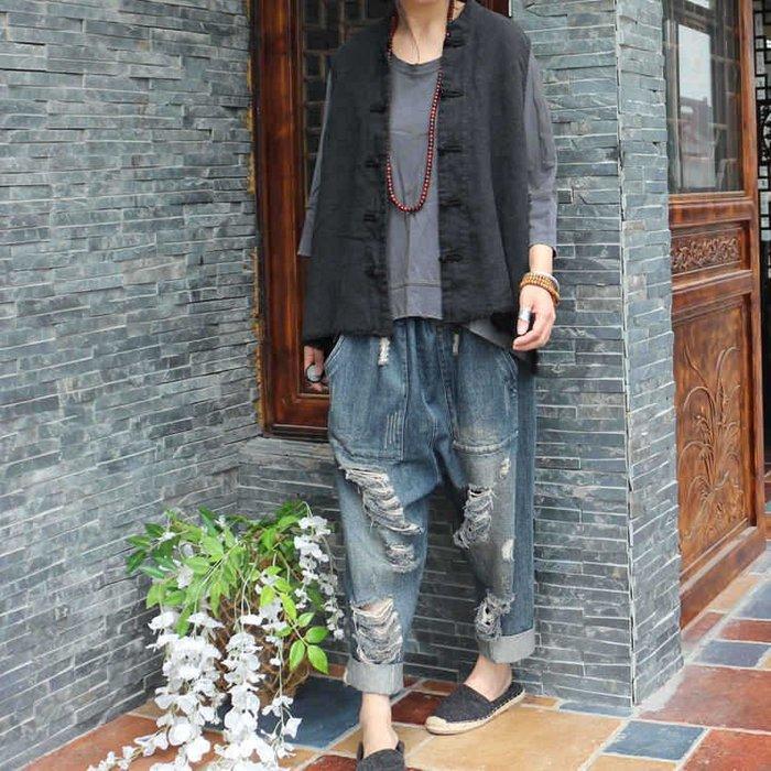 【子芸芳】中式馬夾背心 好品質水洗作舊毛邊亞麻盤扣寬鬆