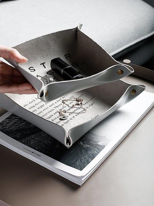 PU皮革收納盤簡約玄關鑰匙雜物置物盤裝飾擺件桌面首飾收納盒神都偏愛規格不同價格不同