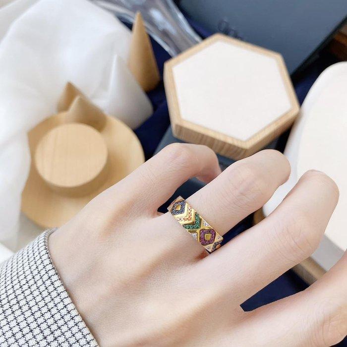 Apm monoco 925純銀防過敏鍍金鑲鑽戒指戒托手飾飾品