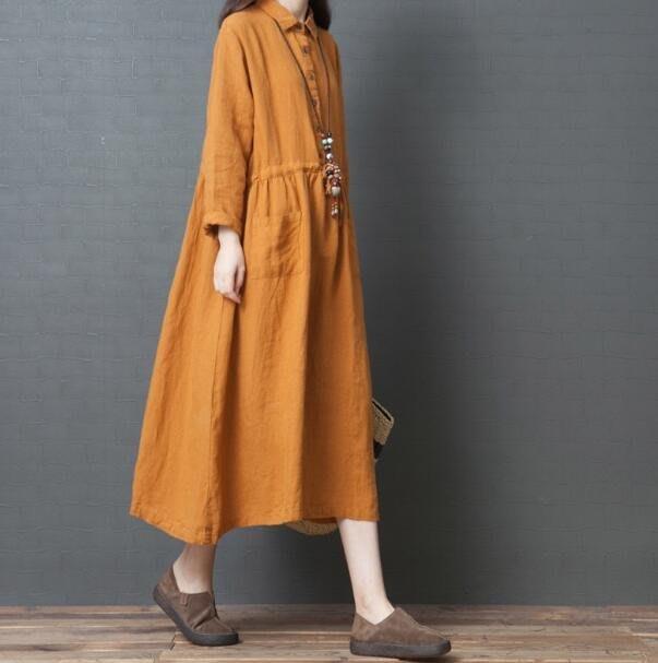 棉麻洋裝 長袖洋裝  韓版大尺碼女裝寬松亞麻洋氣襯衫 中長裙長袖棉麻連身裙 —莎芭