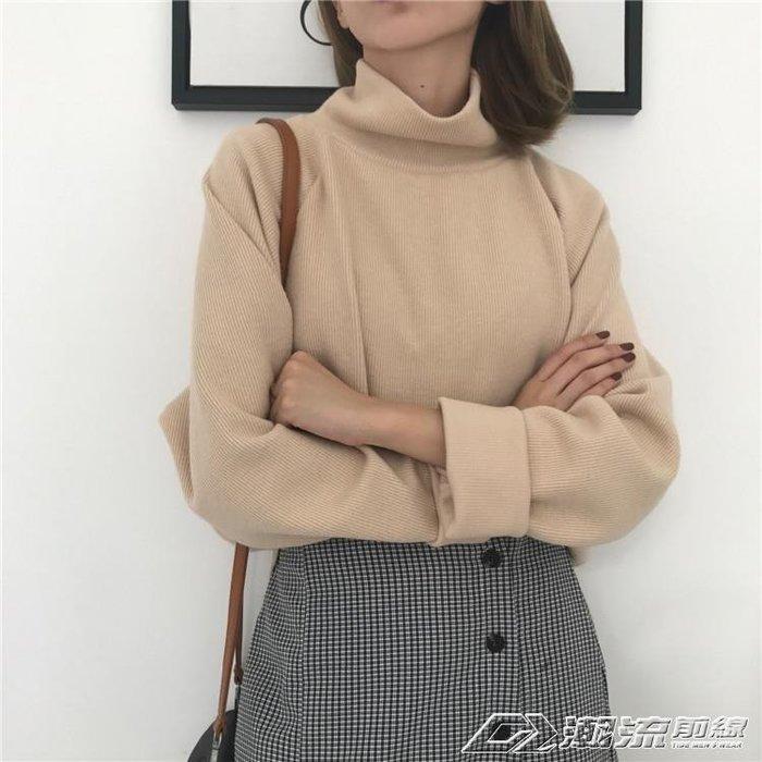 高領加厚長袖針織衫女裝秋新款韓版百搭寬鬆套頭學生打底衫毛衣
