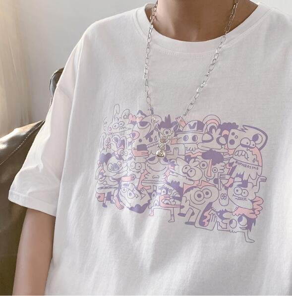 FINDSENSE X 男女款  寬鬆舒適日系 寬 日系中性休閑情侶大碼原宿港風短袖T恤男