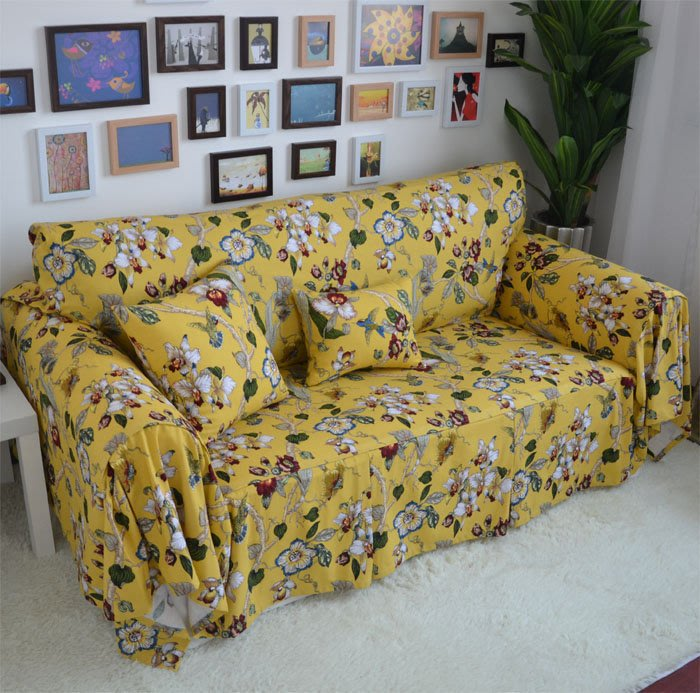 INPHIC-天竺棉黃色沙發巾 沙發套 沙發罩 沙發蓋巾【F121】客製