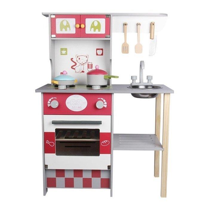 [宅大網] 193768 幼樂比17062 歐式廚房 瓦斯爐 爐具 廚具 灶台 木製仿真 廚房 烤箱