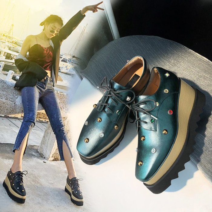 Fashion*坡跟鞋 真皮方頭厚底鞋 系帶松糕鞋 綠色水鉆高跟鞋女鞋 綠色*黑色 33-40碼