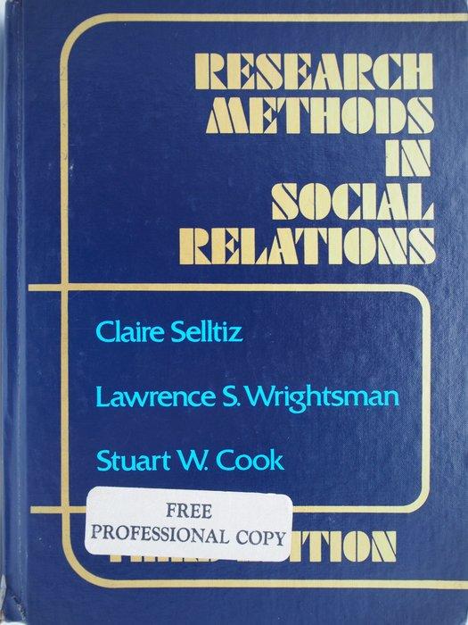【月界二手書】Research Methods in Social Relations_Selltiz〖大學社科〗AGC