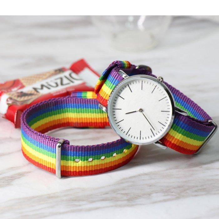 衣萊時尚-dw手錶帶男女通用防水尼龍帆布帶彩虹綠茶漸變配件錶鏈(規格不同價格不同)