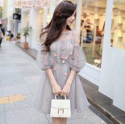 長袖洋裝圓領灰色立體貼花刺繡蕾絲軟紗公...