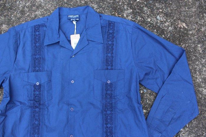 「蔣柒」日本帶回 Vintage Cuba shirt 寶藍色 古巴襯衫 古著 古巴領 刺繡襯衫 現貨2XL號 #319