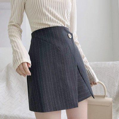 韓版女裝!條紋百搭正裝短裙包臀不規則高腰半身裙子2019夏裝N645D