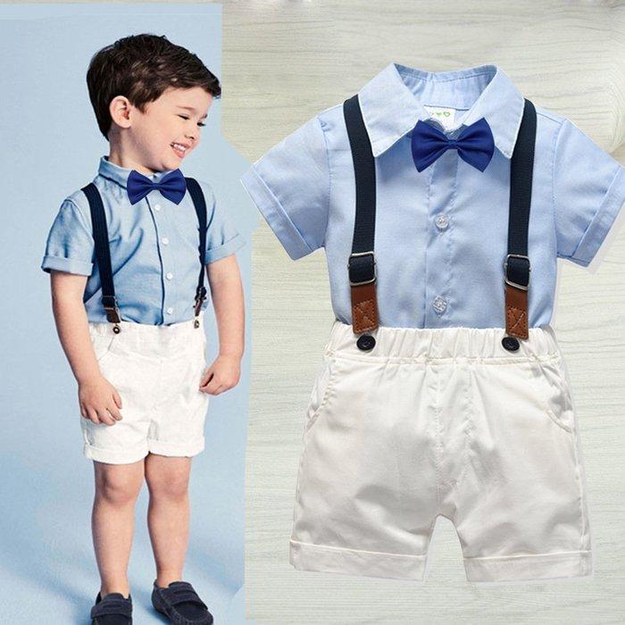 男童  童裝 夏款純棉領結短袖襯衣背帶褲四件套