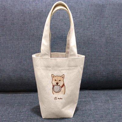 《柴犬-咬碗》文創柴犬 台灣製棉麻布 吸水 環保飲料杯套 提袋 環保袋 飲料袋 環保杯袋  / 蒼蠅星球 / 手創市集