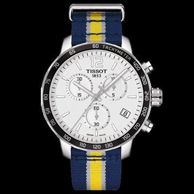 Tissot 天梭時捷系列NBA球隊款尼龍帶石英男腕錶印第安納步行者隊 T0954171703723