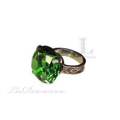 【芮洛蔓 La Romance】 3 cm 水晶鑽戒指造型餐巾環 - 綠色 / 情人節 / 求婚