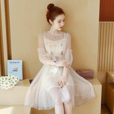 日和生活館 兩件式洋裝溫柔風吊帶網紗連身裙很仙的裙子S686