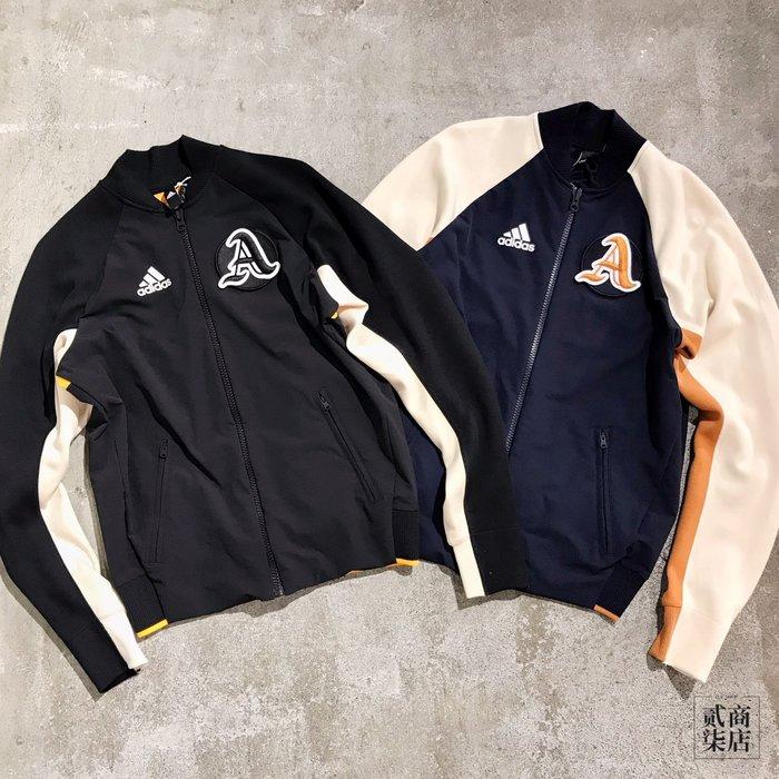 (貳柒商店) adidas VRCT Jacket 男款 棒球外套 胸章 復古 外套 黑 EA0372 藍 DX8408