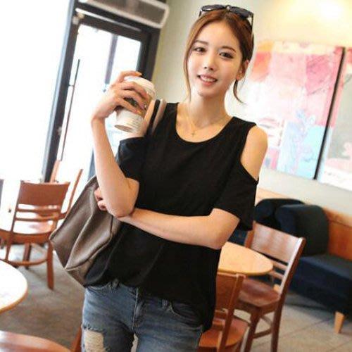 短袖T恤 設計款寬鬆純棉露肩舒適性感短袖上衣 艾爾莎【TGK8347】