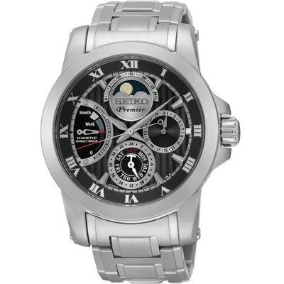 SEIKO PREMIER 人動電能月相廣告錶(SRX013J1)-黑/41mm