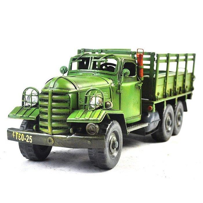 INPHIC-綠皮卡車鐵皮複古仿舊車模 歐式風格工藝擺飾F