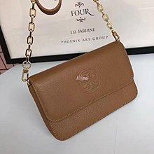 Alina精品代購 TORY BURCH 美國輕奢時尚 熱賣款浮雕LOGO鍊條包 杏色單肩包 美國代購