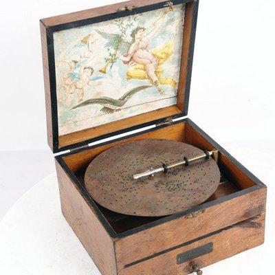 百寶軒 1910年左右西洋古董歐洲老式箱式碟片式手搖音樂盒音樂盒3張碟片 ZG3555