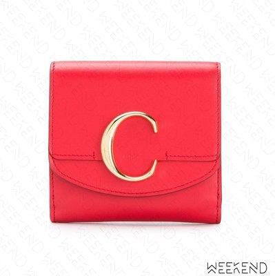 【WEEKEND】 CHLOE C C字母 皮革 皮夾 卡夾 短夾 紅色 19春夏