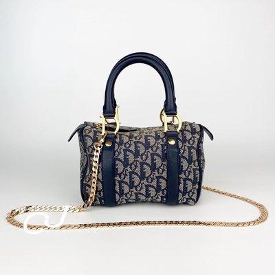 Sold✈️✨CJ Vintage✨日本二手正品Dior speedy mini 20藍金波士頓手提包斜背包