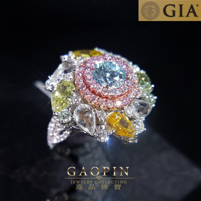 【高品珠寶】GIA1.01克拉藍彩鑽石戒指 藍鑽男戒指 18K #2701