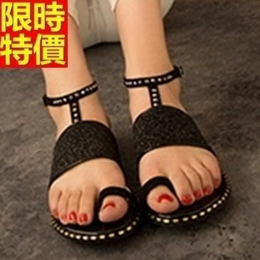 平底涼鞋 夾腳拖鞋-奢華燙鑽經典設計女休閒鞋子2色67d43[獨家進口][米蘭精品]