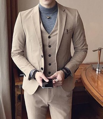 FINDSENSE品牌 韓國男 西裝外套穿搭 三件式套裝 成套西裝 西裝修身 外套+背心+褲子