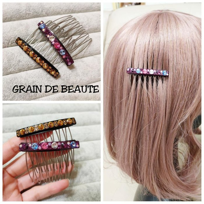 【Love Trina】0915-0114韓國空運✈️正韓。GRAIN DE BEAUTE。大小圓亮鑽髮插。髮叉。