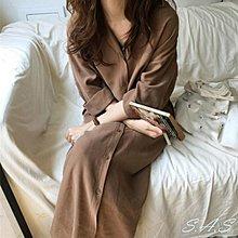 浪漫純色翻領襯衫連身裙 綁帶收腰長款風衣外套 女大衣外套 襯衫外套洋裝 超長飄逸襯衫 567