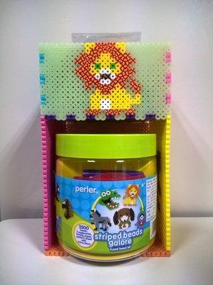 美國PERLER 動物臉譜3,500顆條紋拼豆組合桶(單件即免運,2件1000)