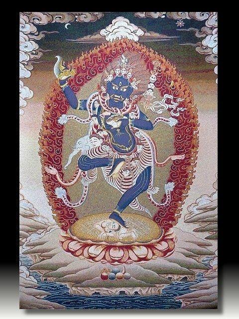 【 金王記拍寶網 】S819 中國西藏藏密佛像刺繡唐卡 刺繡 (大)一張 完美罕見~