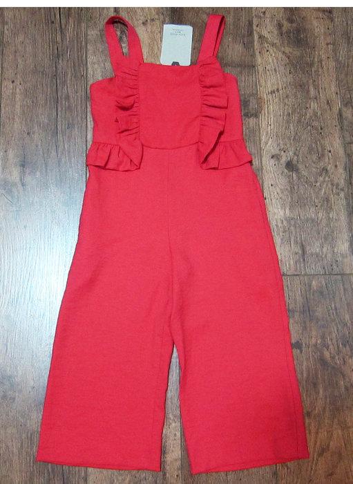 吊牌未拆 - 西班牙品牌ZARA(zara girls)大紅色荷葉裝飾吊帶褲連身褲裝長褲女童裝zara kids