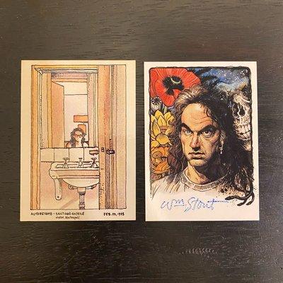 1996 William Stout 美國奇幻藝術家和插畫家 親筆簽名 收藏卡 卡片 共2張