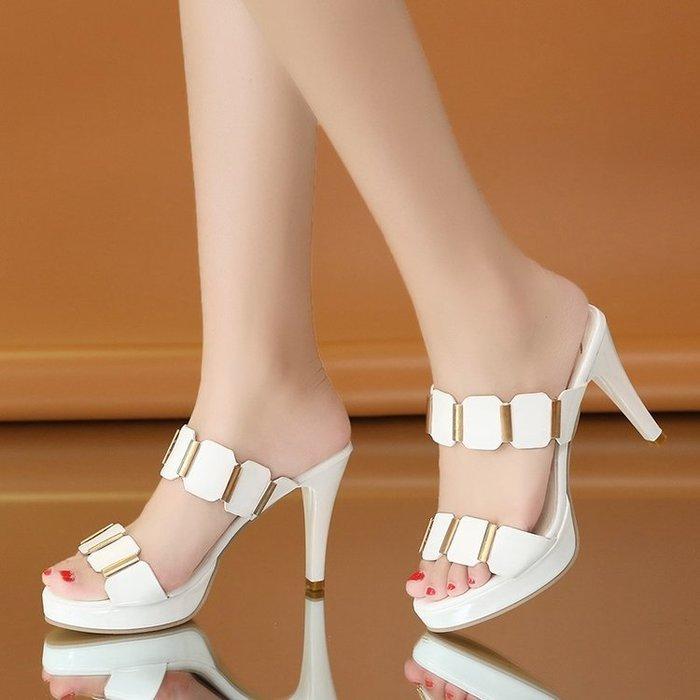 女春季超夯新款韓版高跟女士涼拖鞋時尚外穿防水臺細跟露趾一字拖