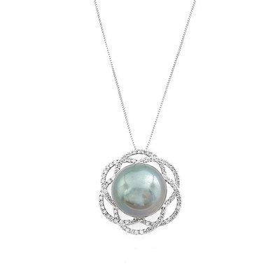 【JHT 金宏總珠寶/GIA鑽石專賣】16.1mm天然黑珍珠鑽墜/材質:18K(PP00060)