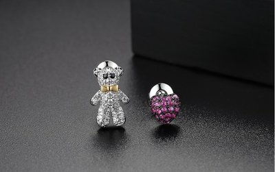 電鍍白金耳環 AAA級瑞士锆石