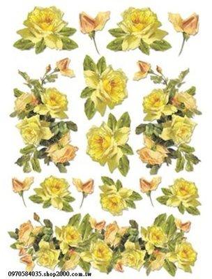 ~好 館~黏土、蝶古巴特、彩繪、皂模、貼鑽..等DIY材料~DFSA4017棉紙 21X29.74CM 黃玫瑰