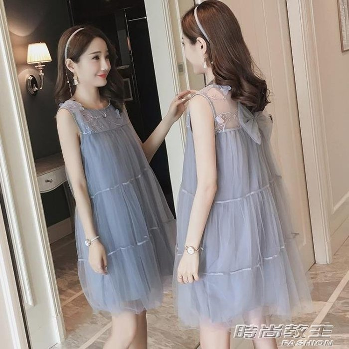 孕婦裝韓版蕾絲拼接網紗洋裝新款寬鬆中長款孕婦裙DBX