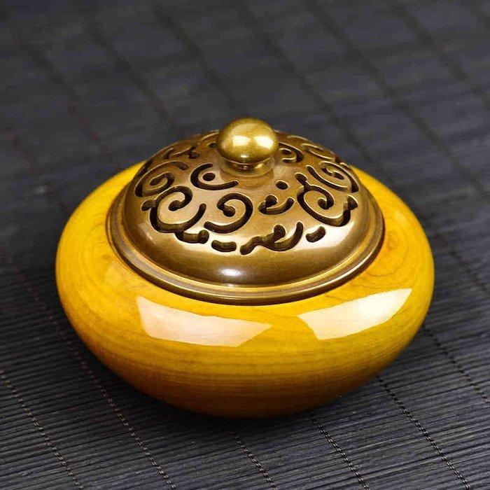 銅香爐 木質爐蓋香爐 臥室創意送禮檀香爐茶道沈香爐