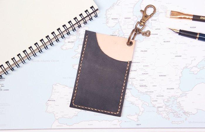 【Brave革.手作】  悠遊卡套  票卡夾    靛藍黑 免費刻字