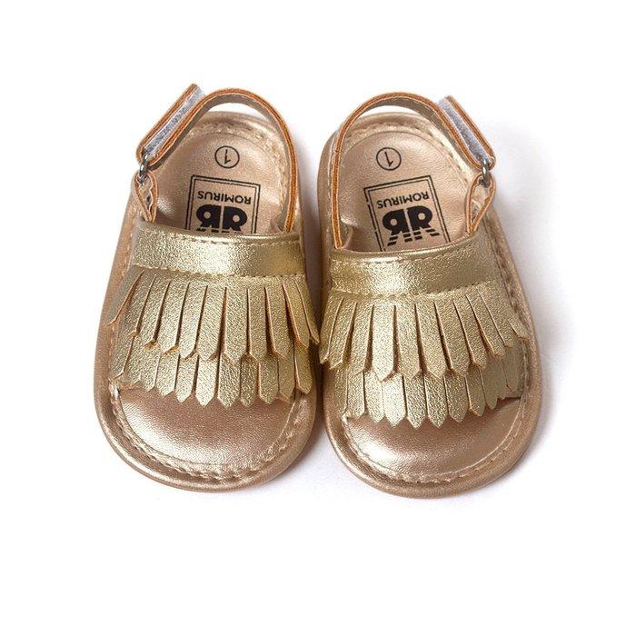 寶貝倉庫~時尚金色流蘇軟膠涼鞋~學步鞋~寶寶鞋~學走鞋~娃娃鞋~幼兒鞋~童鞋~粘扣設計~穿脫方便~彌月贈禮~戶外行走