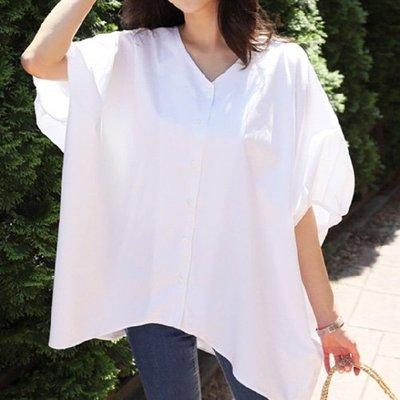 五分袖T恤韓風不規則上衣 寬鬆V領蝙蝠袖上衣 艾爾莎【TGK6780】