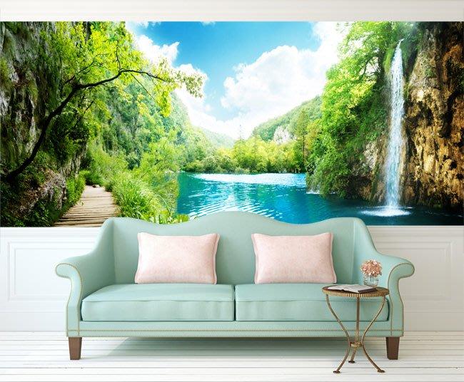 客製化壁貼 店面保障 編號F-250 湖邊瀑布 壁紙 牆貼 牆紙 壁畫 星瑞 shing ruei
