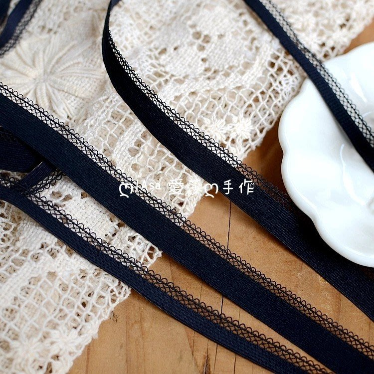『ღIAsa 愛莎ღ手作雜貨』(90cm)黑色彈力內衣蕾絲花邊DIY蕾絲項鍊輔料/娃衣輔料