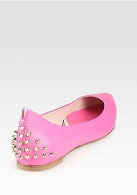 McQ - Alexander McQueen 經典款 Studded Pointy Toe Flats 粉紅色37 號 現貨