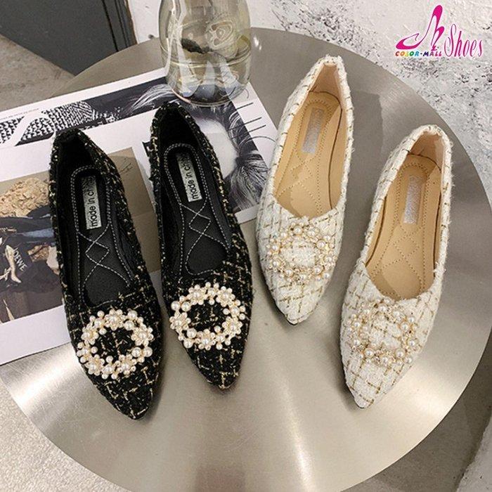 包鞋【CM日韓鞋館】【054-K3388】高雅水鑽珍珠飾百搭平底尖頭娃娃鞋.黑/白