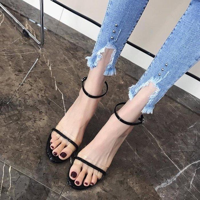 女士涼鞋透明露趾8cm高跟性感夜店細跟一字帶貓跟女鞋